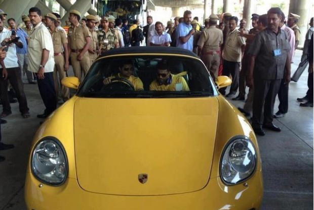 Raina driving his porsche boxter