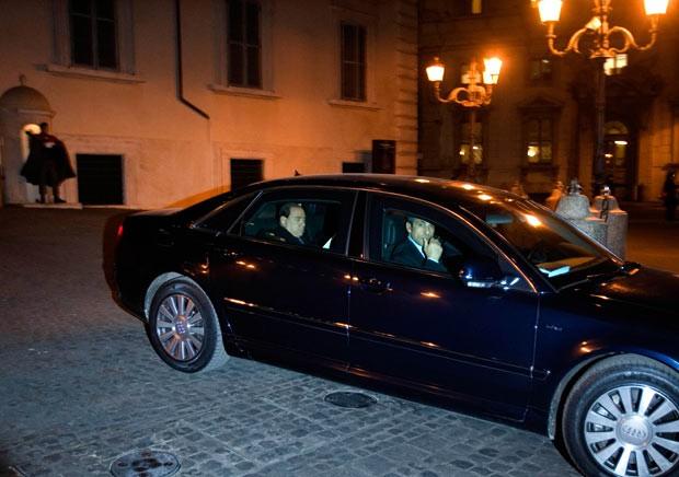 Silvio Berlusconi in his car