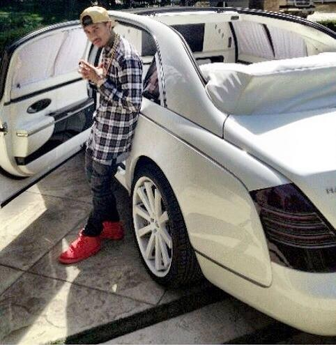 Tyga in his car