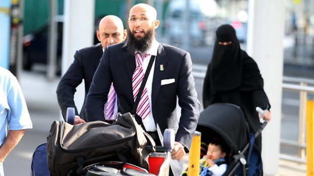 Hashim Amla with His Wife and Child