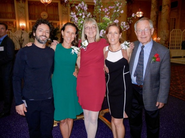 Anne and Her Ex-Husband Sergey Brin with Wojcicki Family