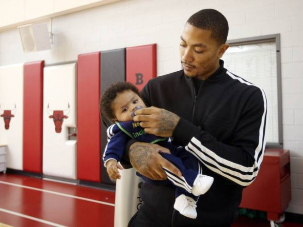 D Rose taking Care of His Son PJ