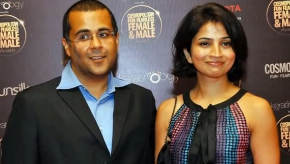 Chetan Bhagat With his Wife Anusha