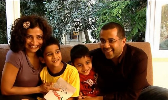 Chetan Bhagat With his Wife and Sons