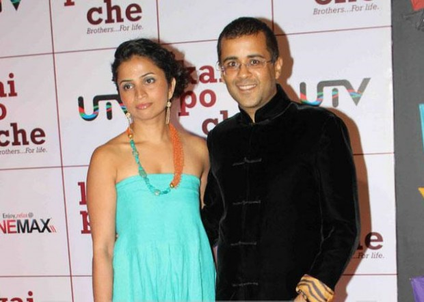 Chetan Bhagat With his Wife Anusha at the Premiere of Kai Po Che!