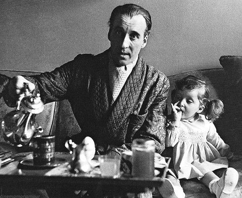 Christopher Lee and his Daughter Christina in 1966