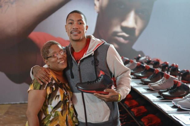 Derrick Rose With His Mother Brenda