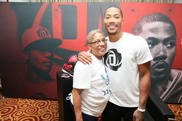 Derrick Rose with His Mom