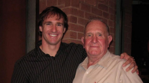 Drew Brees with his grand father Ray Akins