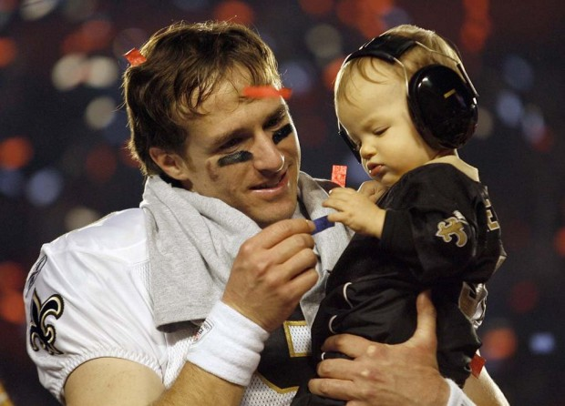 Drew Brees with his son Baylen Robert Brees