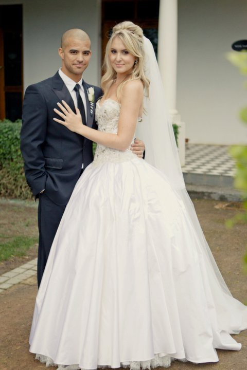 Jp Duminy and Sue on their wedding day