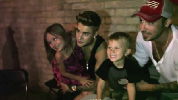 Justin with His Brother and Sister on His Brother's Birthday