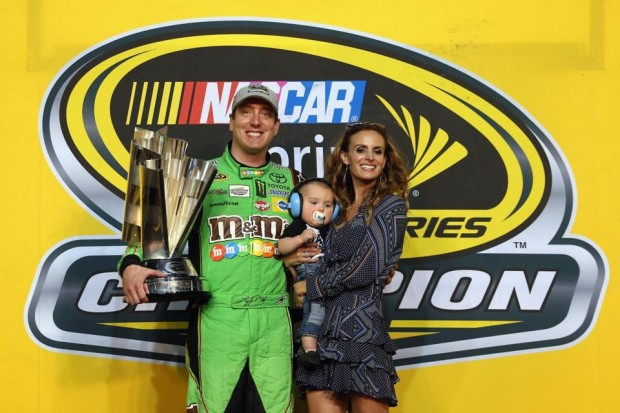 Kyle with His Son and Wife after Winning Nascar Series Championship