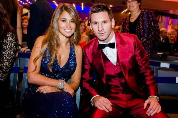 Lionel Messi with his partner Antonella Roccuzzo