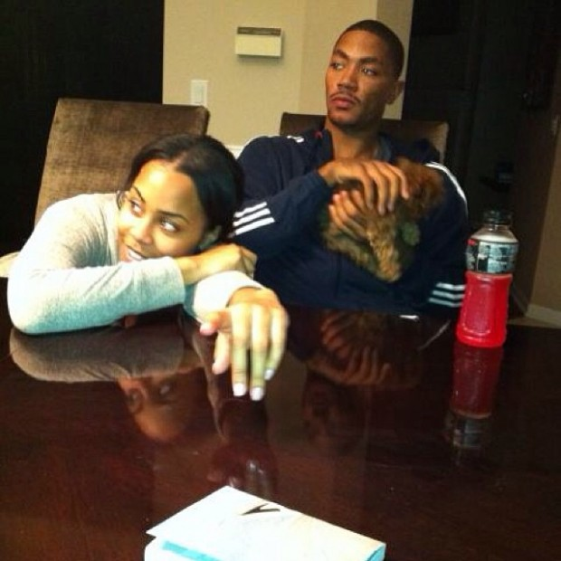 Derrick Rose with His Ex-Wife Mieka Reese