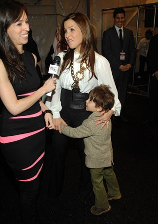 Monique Lhuillier with her son Jack Lhuillier Bugbee at a fashion show