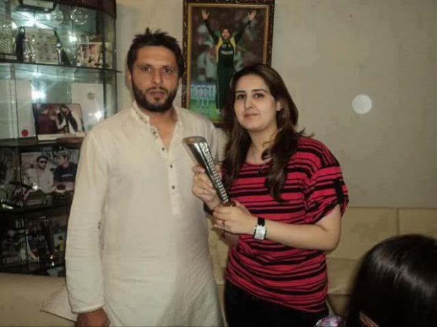 Afridi with His Wife Nadia Afridi