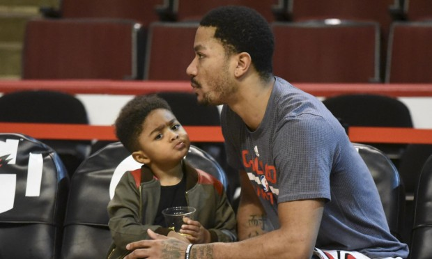 PJ with His Father Derrick Rose