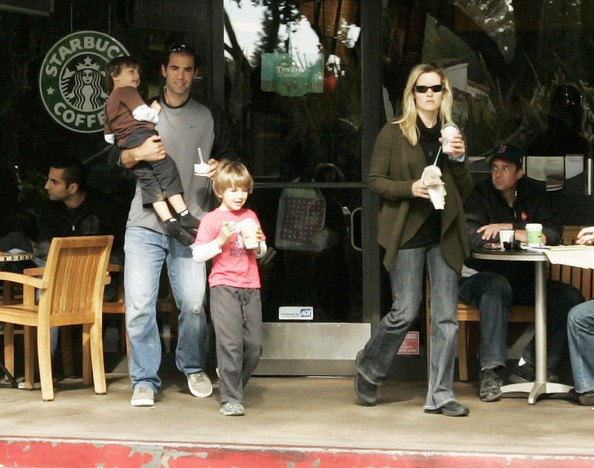 Pete Sampras and His Family at Starbucks
