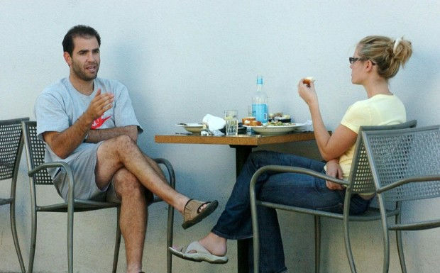 Pete Sampras and Wife Bridgette Wilson Having Lunch at Le Conversation