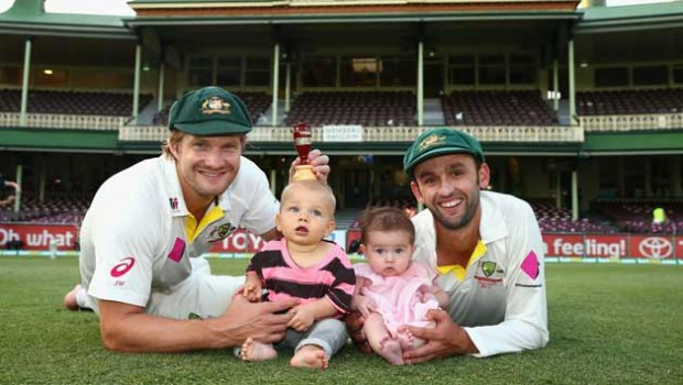 Shane Watson and His Son with Nathan Lyon and Lyon's Daughter