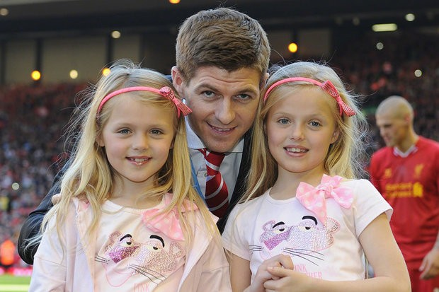 Steven Gerrard with two of his daughters Lilly-Ella Gerrard and Lexie Gerrard