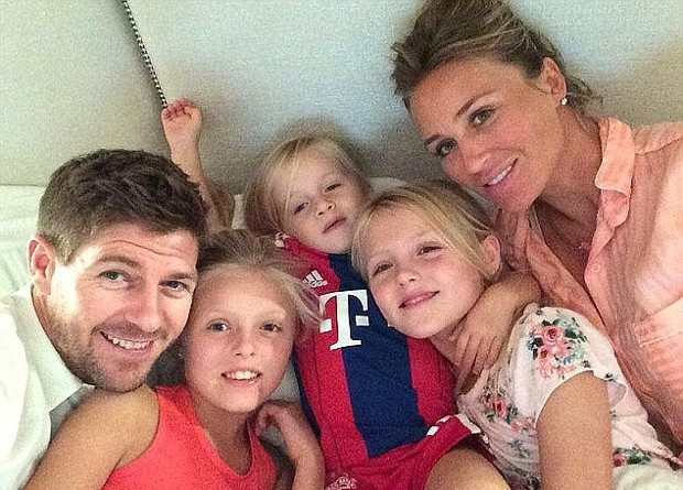 Steven Gerrard with his girls