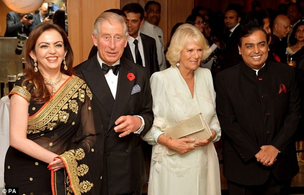 The Prince of Wales and the Duchess of Cornwall with Indian Billionaire Mukesh Ambani and his wife Nita