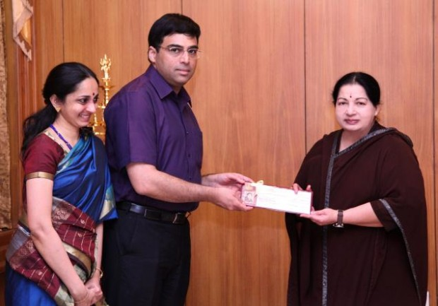 Vishy Anand and his Wife Aruna With Jayalalitha