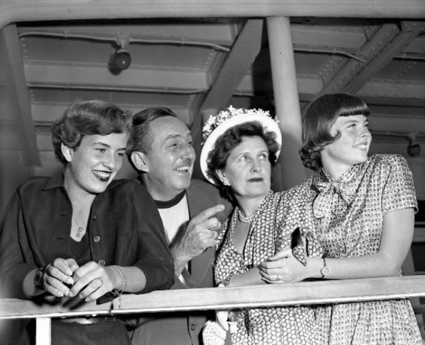 Walt Disney Wife Lillian and his Daughters Diane, Sharon Moe