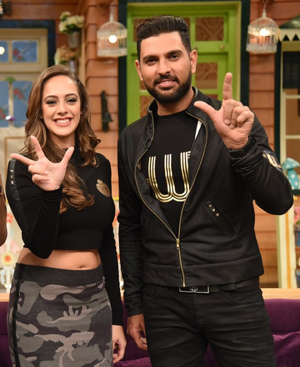 Yuvraj Singh and Hazel Keech on sets of The Kapil Sharma Show