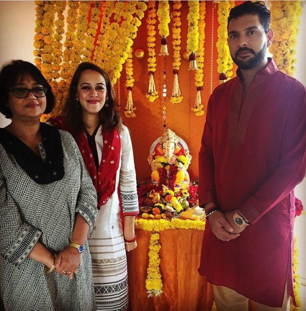 Yuvi and his wife Hazel