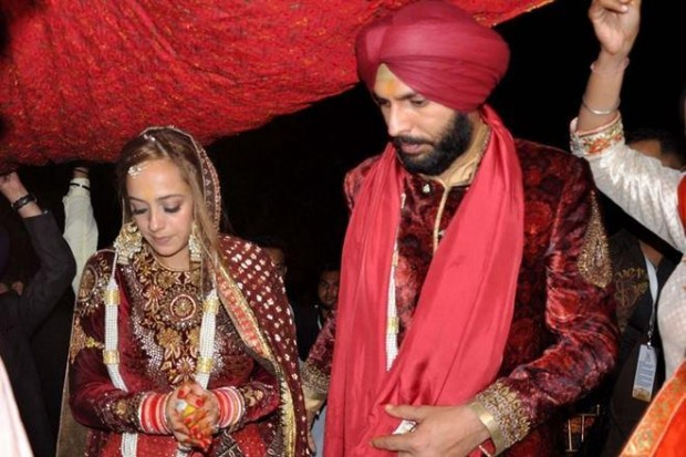 Yuvraj and Hazel Keech during their wedding rituals