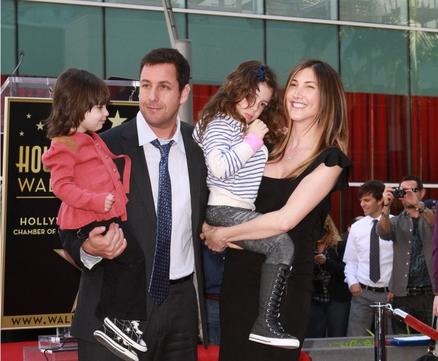 Adam Sandler with his family at Hollywood Walk of Fame