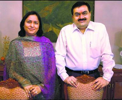 Gautam Adani and his wife Priti Adani