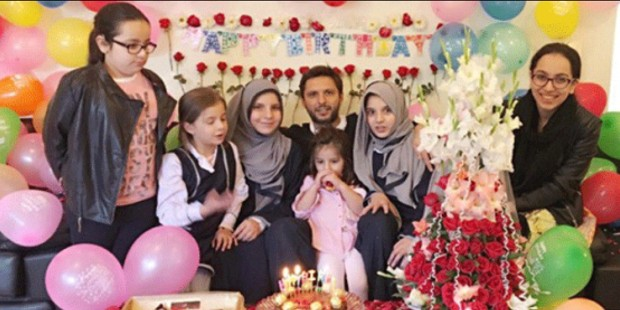Afridi with His Family