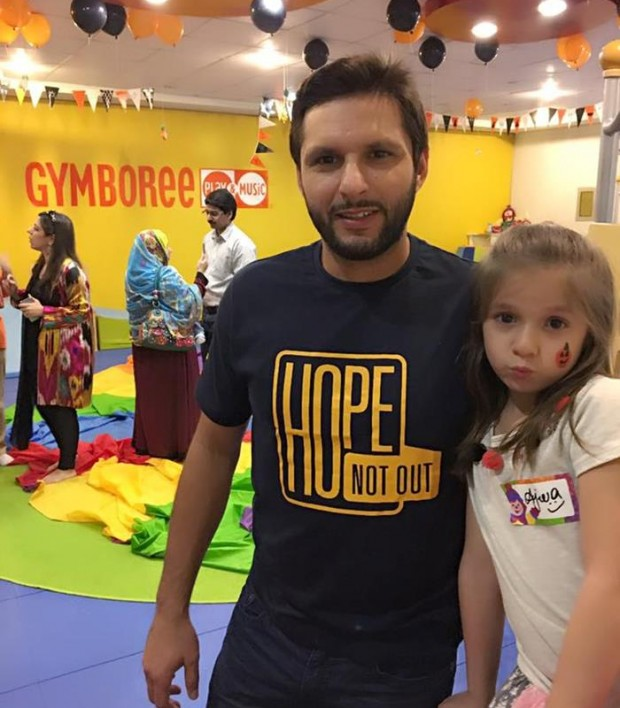 Afridi with his little daughter