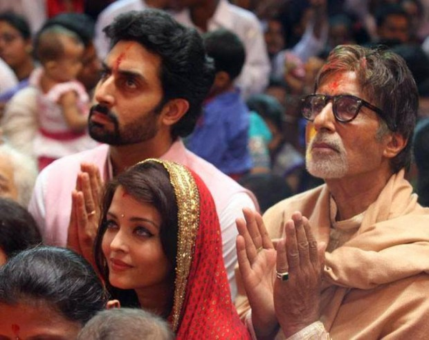 Amitabh with his son Abhishek and daughter-in-law Aishwarya Rai Bachchan