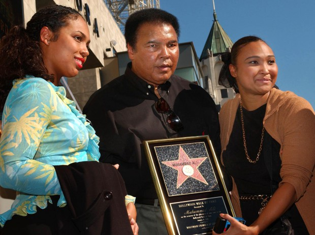 Muhammad Ali with his daughters at Hollywood Walk of Fame cermony