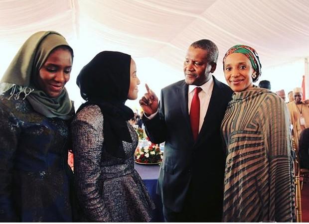 Aliko with daughters Maria, Fatima and Halima
