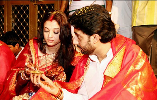Abhishek and Aishwarya on their wedding