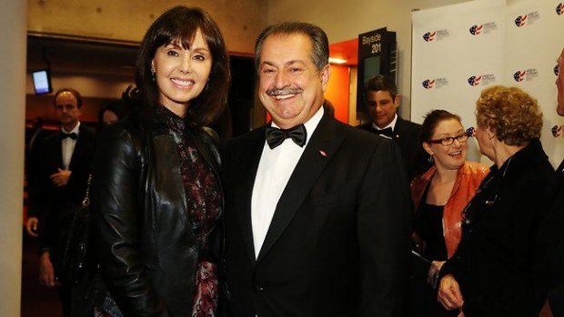 Andrew Liveris and his wife Paula arrive at a benefit dinner at the American Australian Association in Sydney