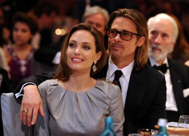 Angelina Jolie with Husband Brad Pitt in a party