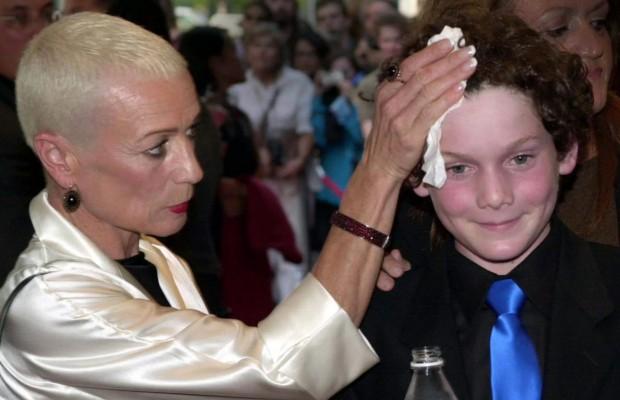 Anton Yelchin with his mom