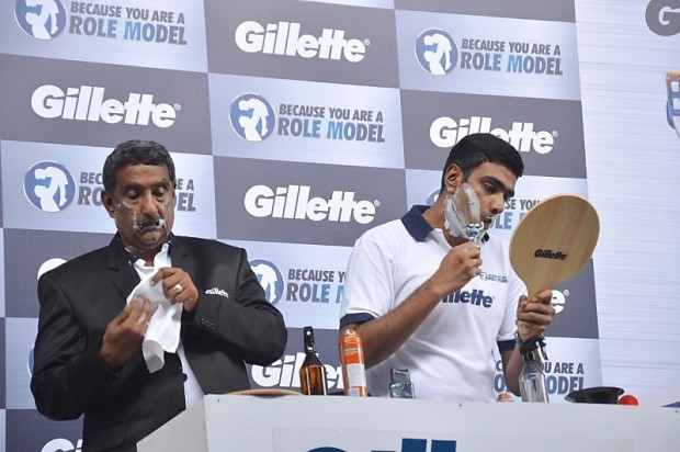 Ashwin and His Father during Promotion of Gillette