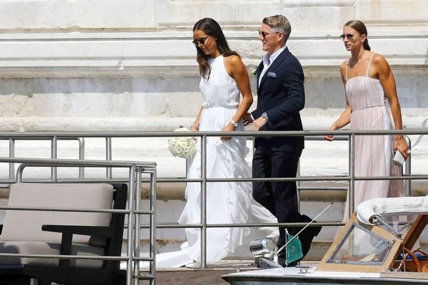 Bastian and Ana made their way to a waiting boat shortly after the ceremony