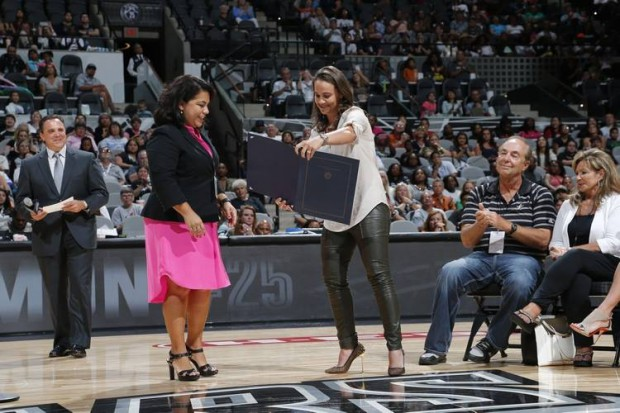 Becky Hammon parents at jersey retirement of Becky
