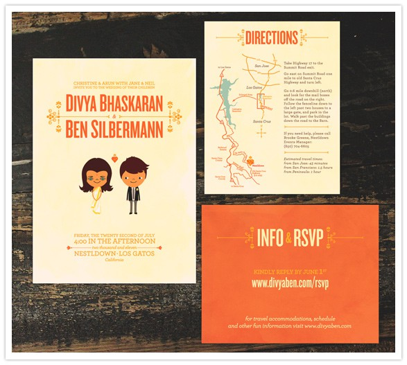 Wedding Invitations of Pinterest founder Ben Slibermann and Divya