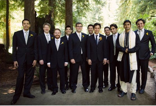 Ben with his friends and relatives on their wedding day