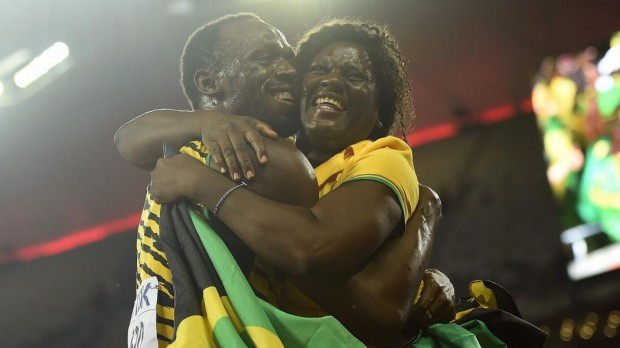 Usain Bolt with his mother Jennifer Bolt